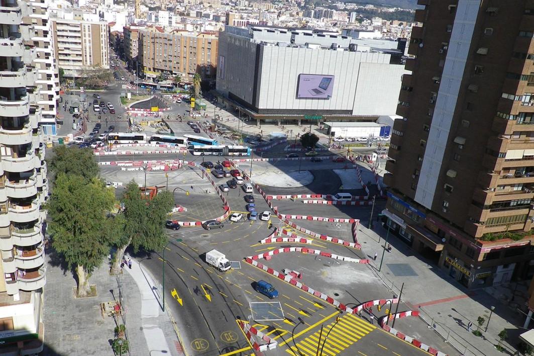 La zona de obras de El Perchel de metro de Málaga.