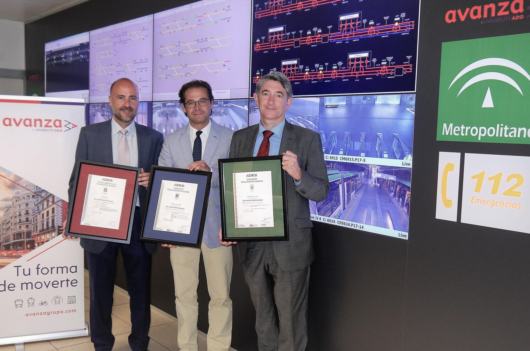 Metro de Granada obtiene los certificados Aenor.