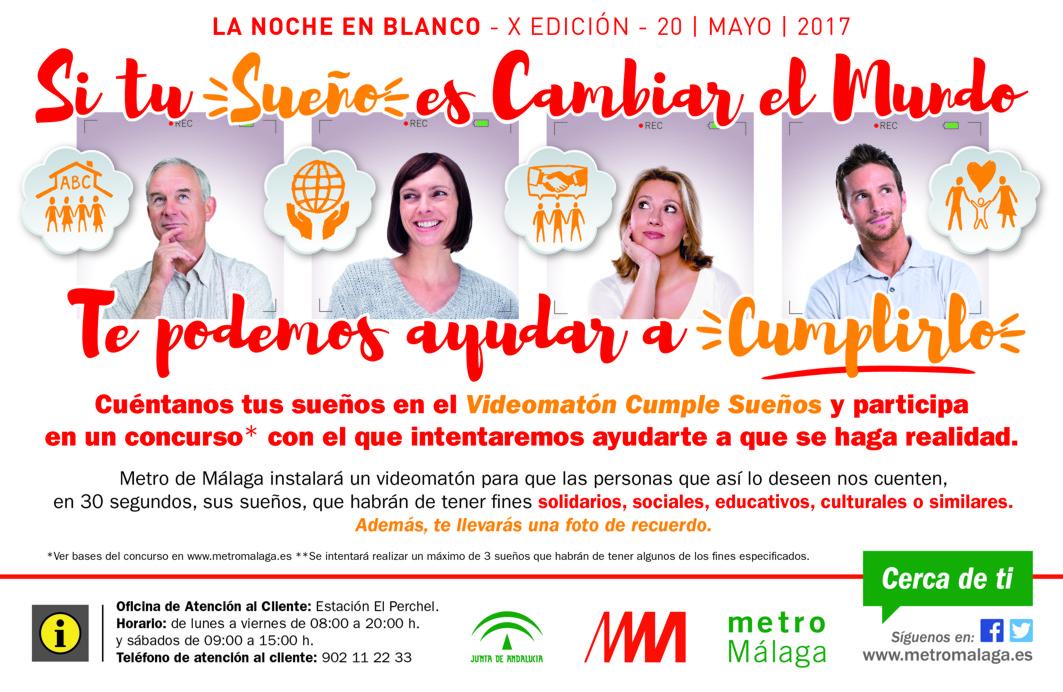 Cartel para la Noche en Blanco de Metro de Málaga.