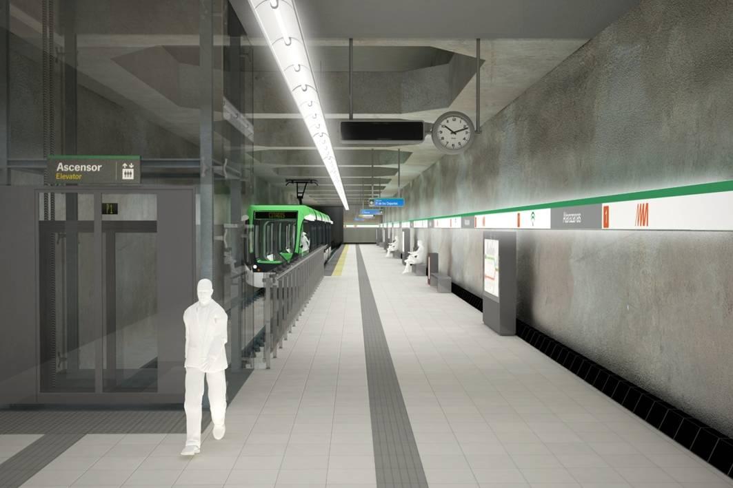 Recreaci�n del vest�bulo de la Estaci�n Atarazanas del Metro de M�laga.