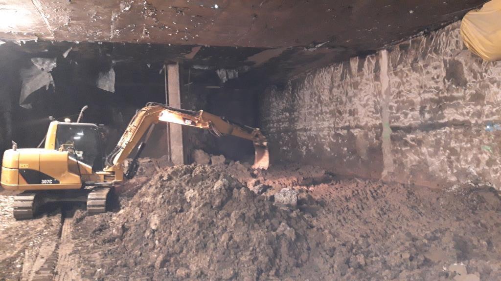Avance de los trabajos de excavación en el segundo nivel.
