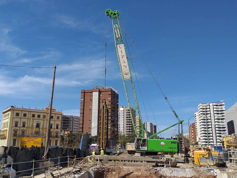 Obras en el tramo Renfe - Guadalmedina.
