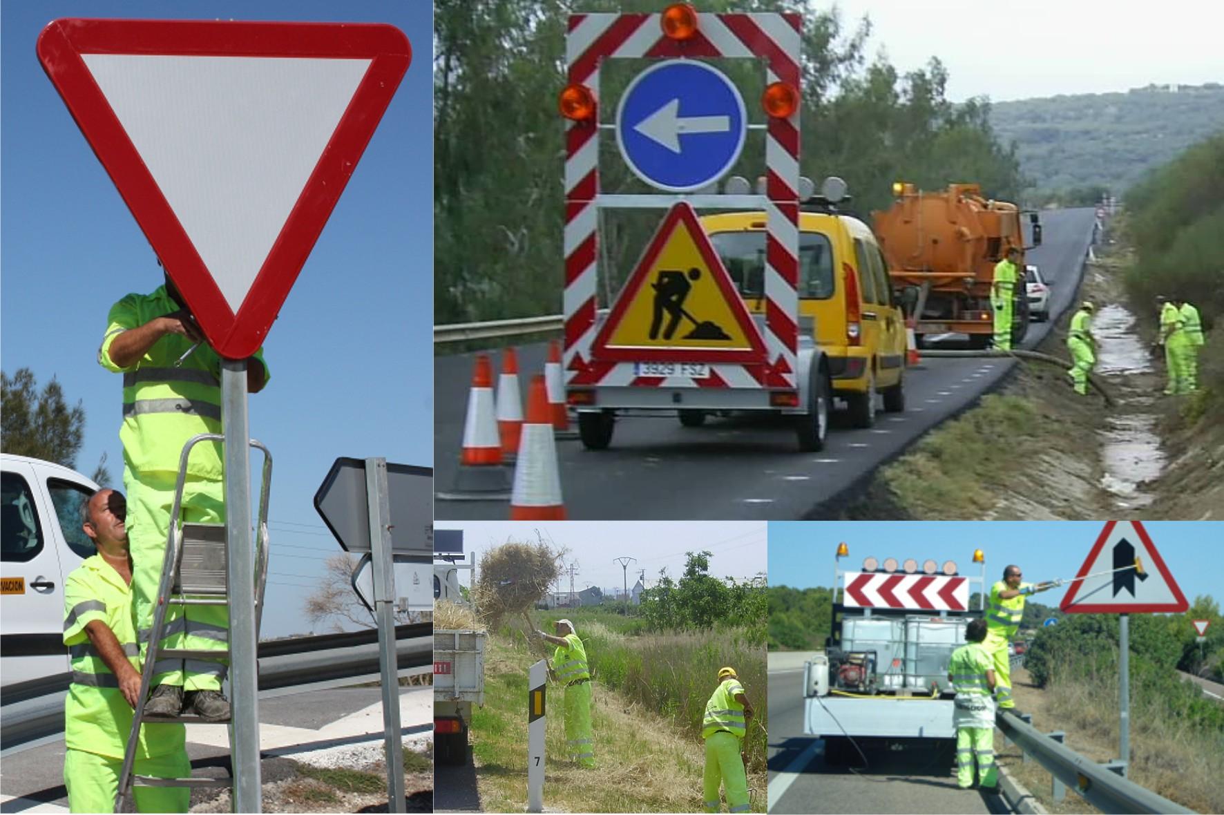 Operarios de Conservación realizan diversas operaciones de mantenimiento en las carreteras andaluzas.