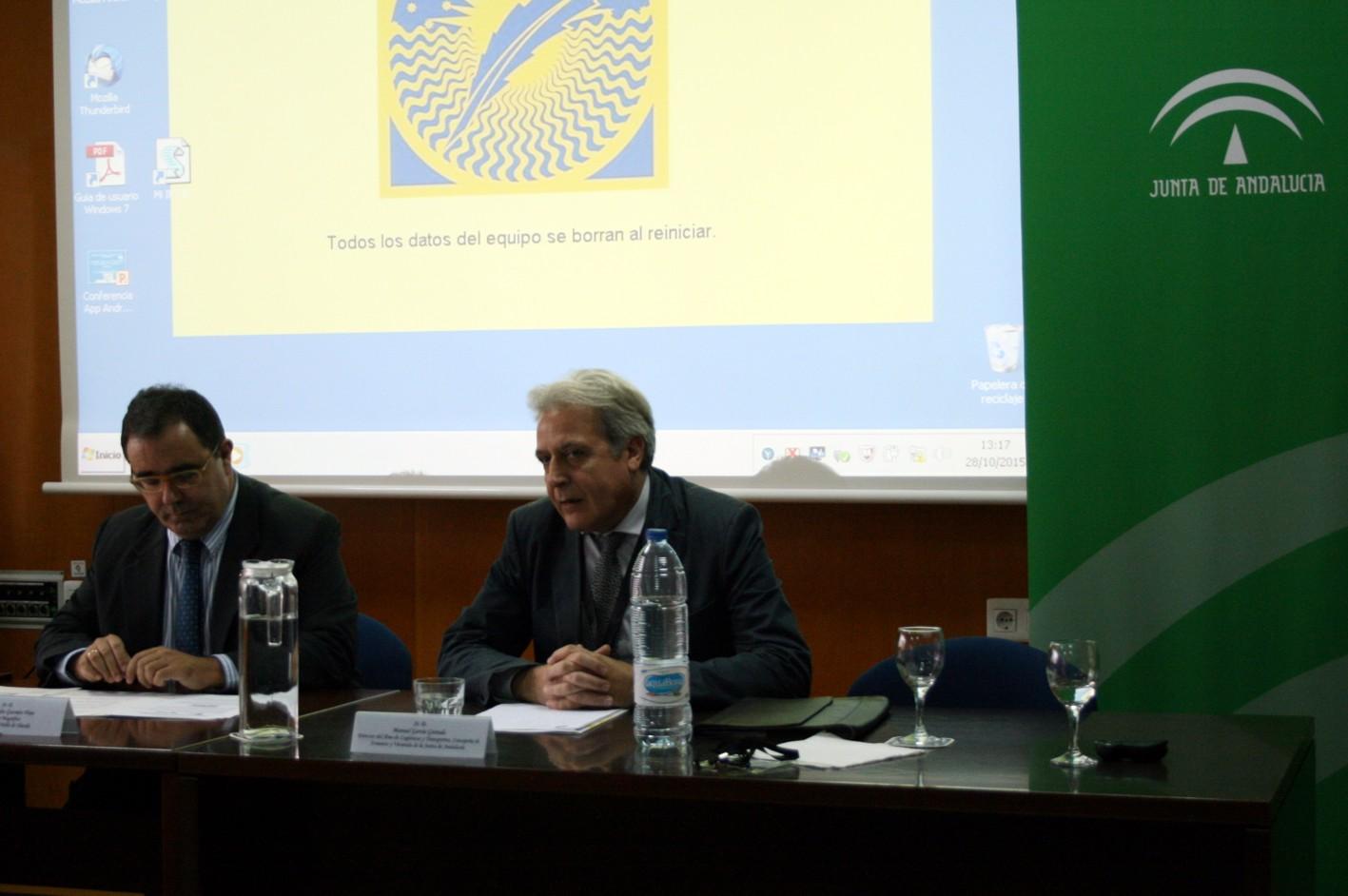 Representantes de la Agencia Pública de Puertos de Andalucía y de la Universidad Pablo de Olavide.