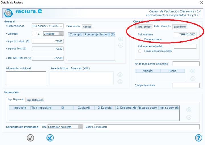 ejemplo de factura imputada a una referencia sin certificación