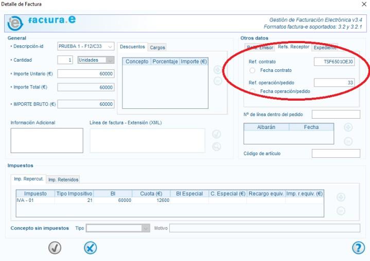 ejemplo de factura imputada a una referencia con certificación
