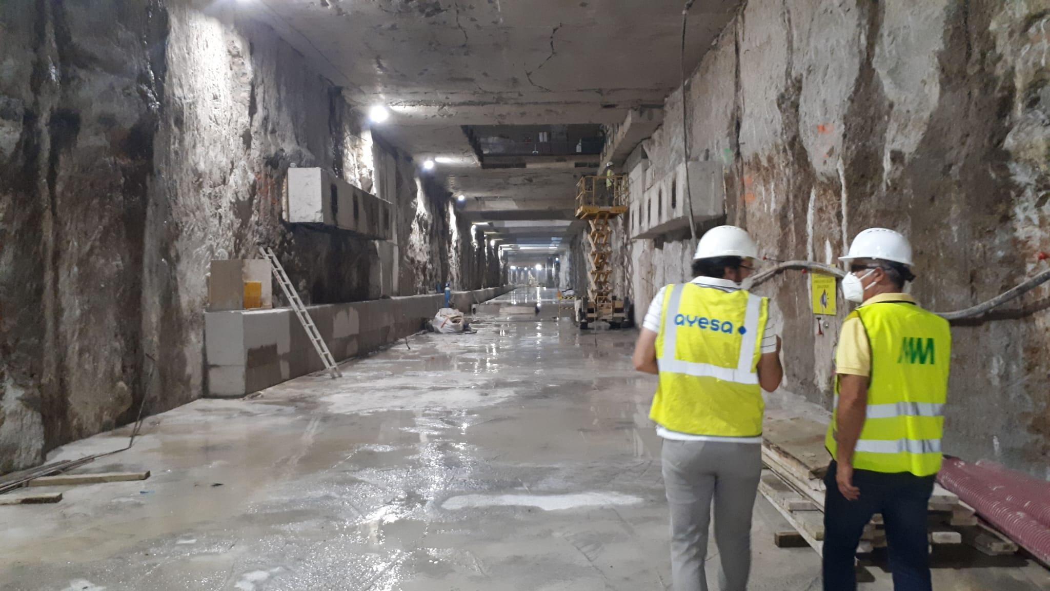Túnel del metro de Málaga entre Guadalmedina y Atarazanas.