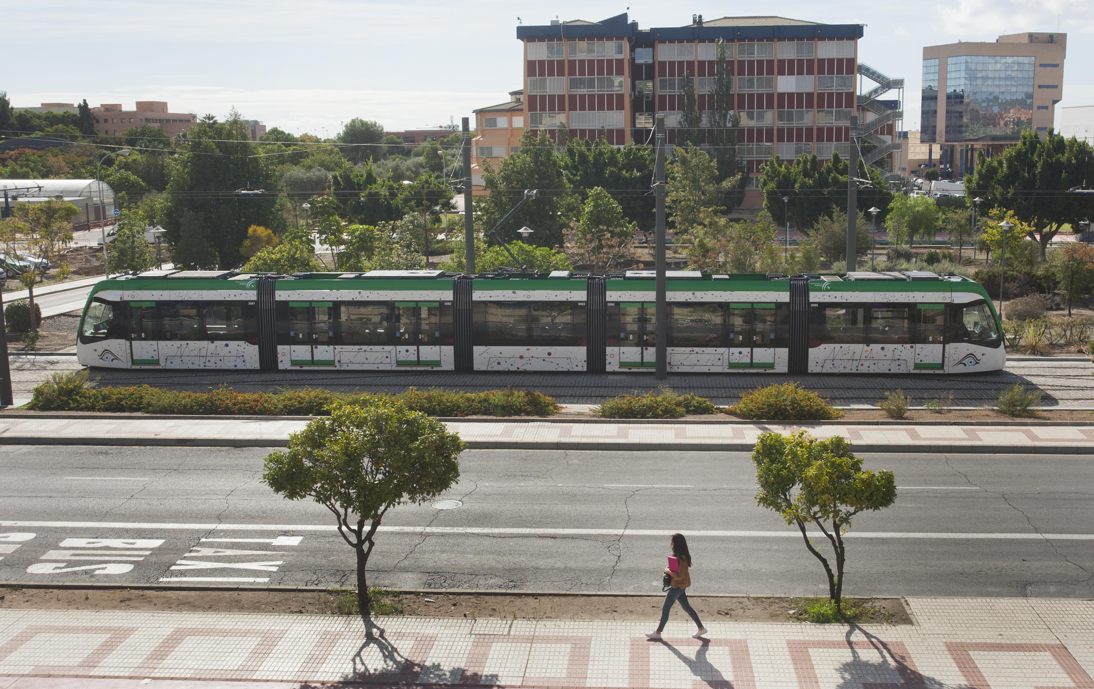 El metro de Málaga discurre en superficie por un tramo de 3 kilómetros en Teatinos.