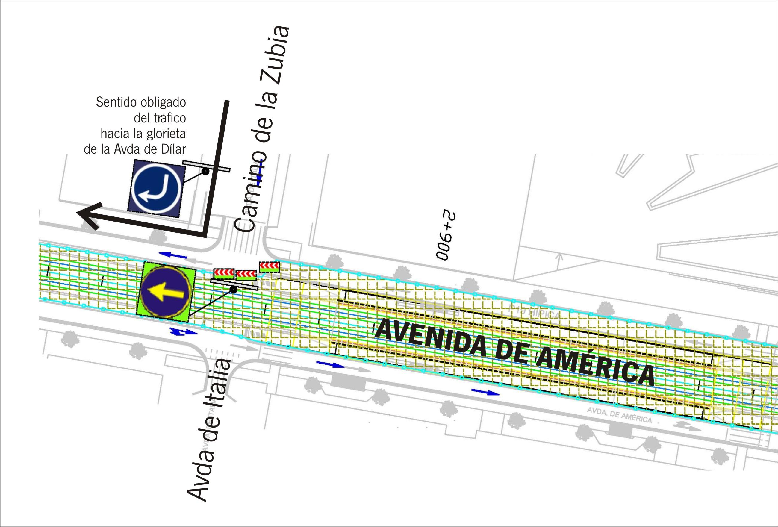 La reordenación del tráfico en la intersección entre las avenidas de América e Italia estará debidamente señalizada.