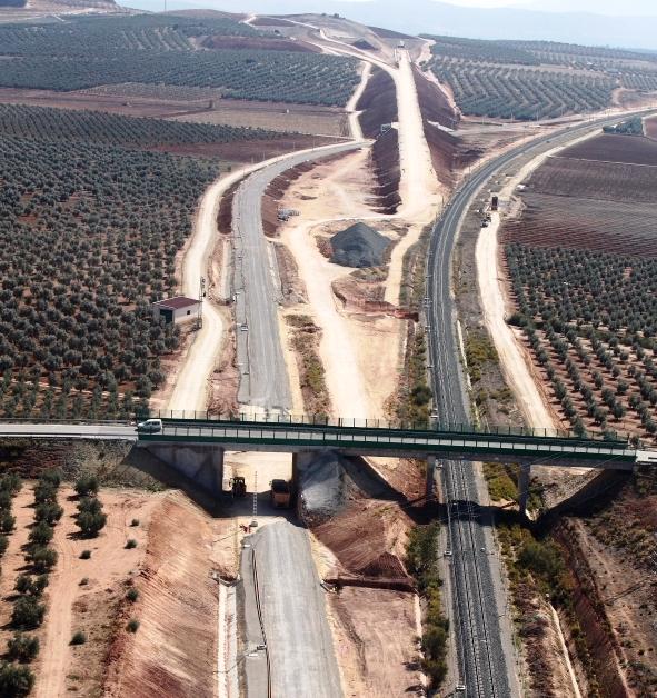 Imagen de las obras del tramo Fuente de Piedra - Antequera