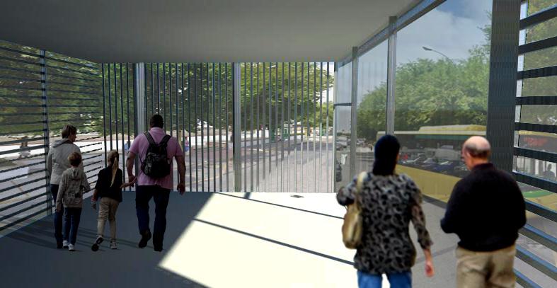 Infografía del futuro apeadero de autobuses de Chiclana, que se ubicará en la margen derecha del río Iro