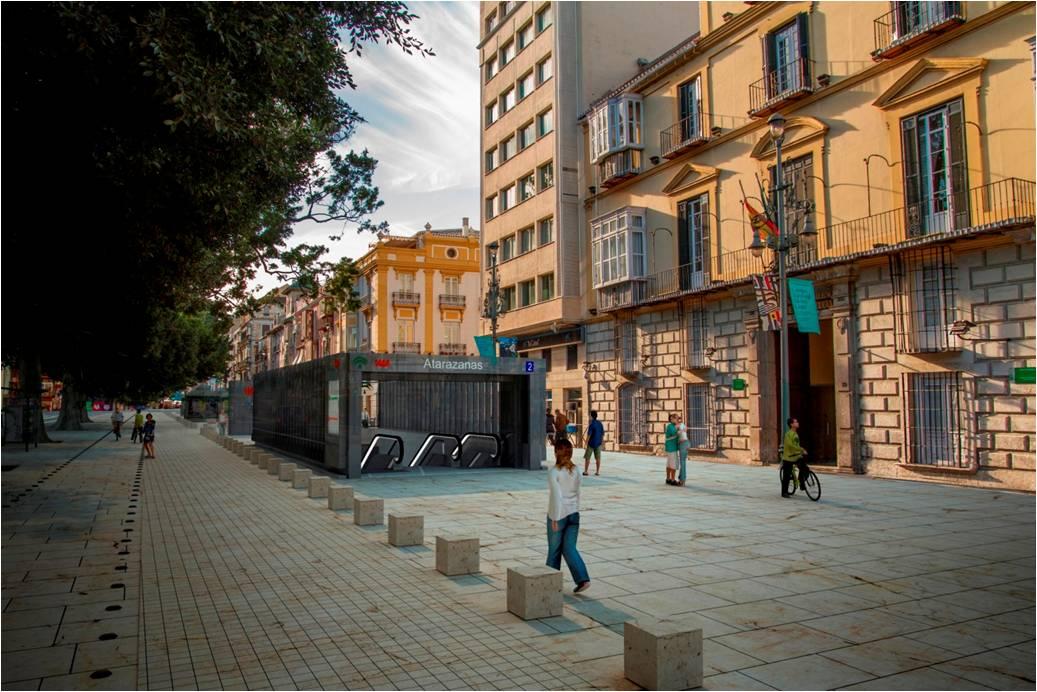 Recreación del edículo o boca de metro de la Estación Atarazanas en la Alameda Principal..