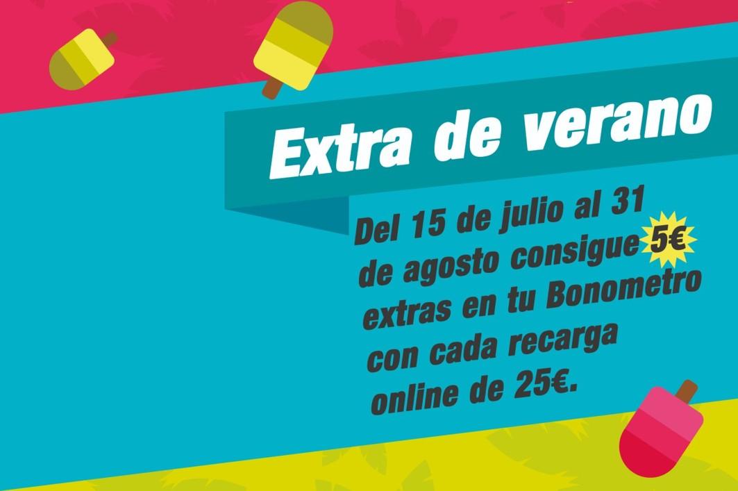 Cinco euros de regalo por cada 25 euros de recarga on line.