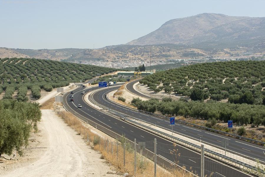 La variante de Lucena rodea la ciudad por el noreste y conecta con al A-318 Autovía del Olivar.