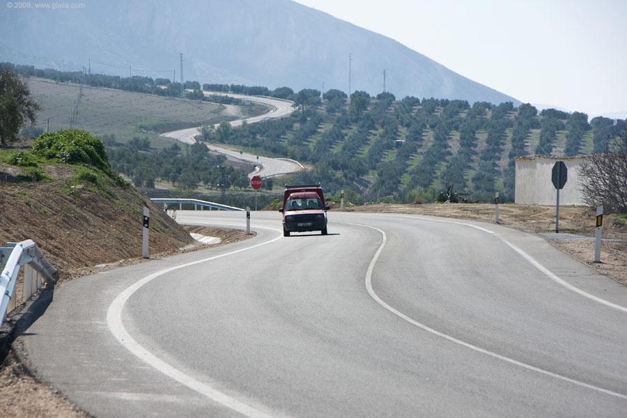 La carretera A-315, al sur de la Sierra de Cazorla.