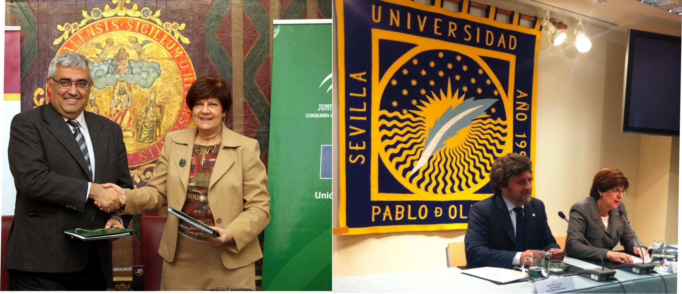 De izquierda a derecha: Rector de la Universidad Hispalense junto a Josefina Cruz y Rector de la Universidad Pablo de Olavide con la Consejera