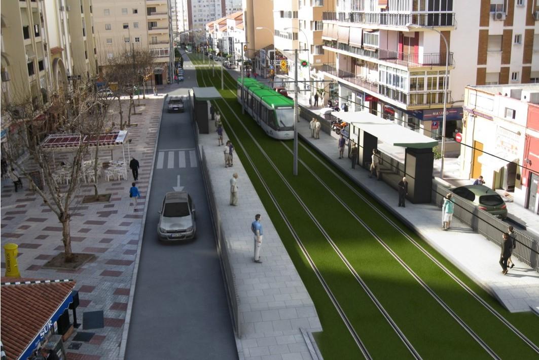 Imagen que recrea la prolongación del metro de Málaga hasta el Hospital Civil.