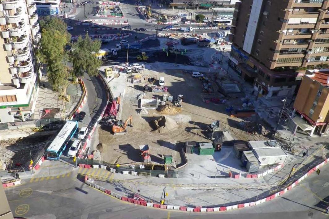 Zona de obras en la avenida de Andalucía. Tramo renfe - Guadalmedina del metro de Málaga.