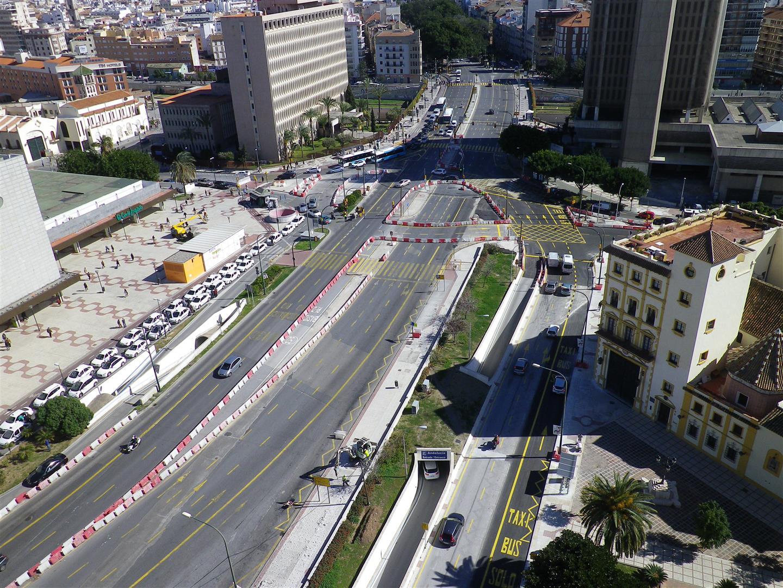El tramo Renfe-Guadalmedina consta de un trazado de 713 metros lineales y discurre en su integridad de manera soterrada.