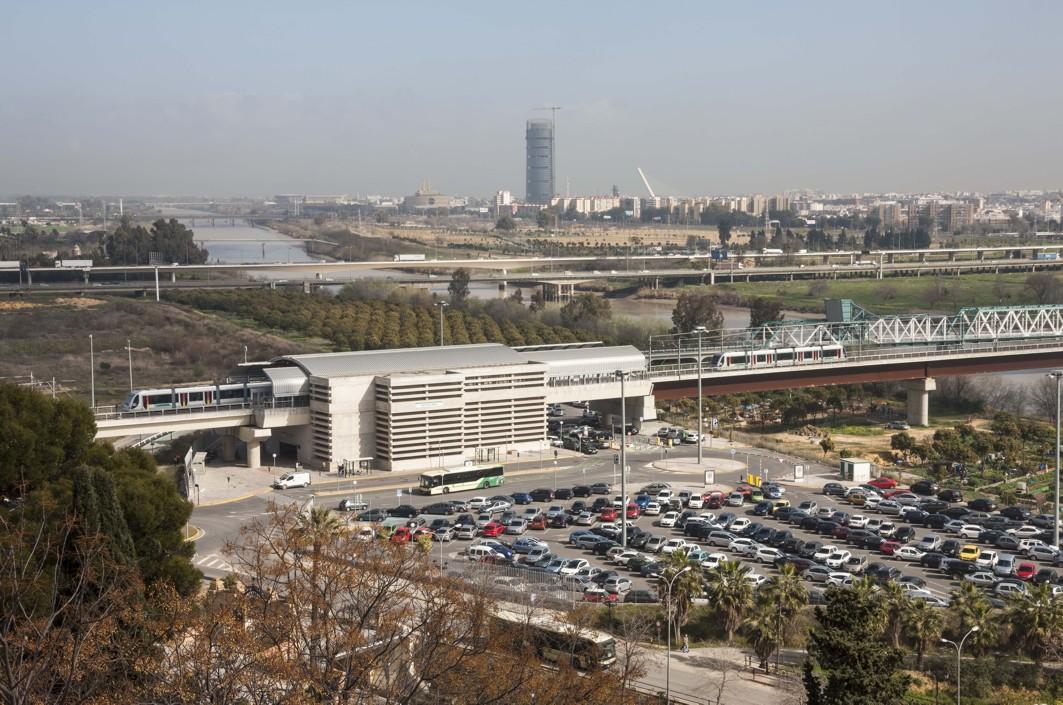 Vista aérea del aparcamiento en San Juan Bajo.