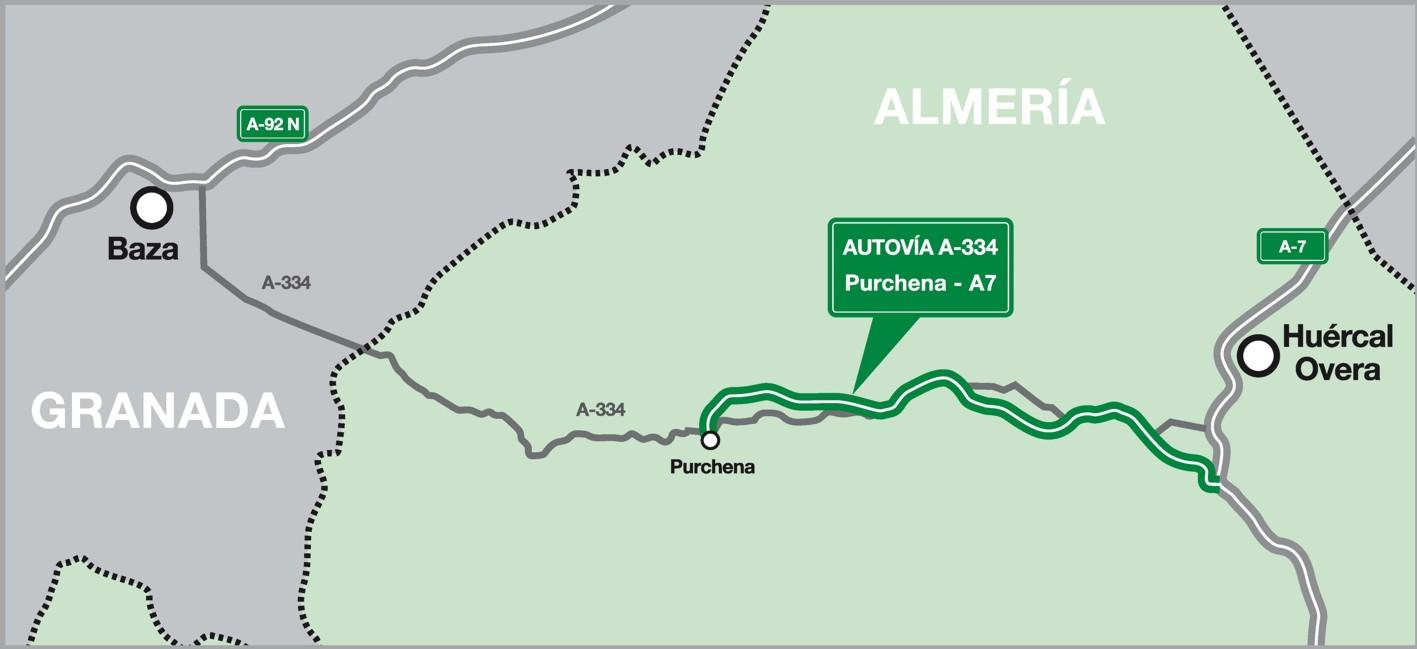 En el mapa, ubicación de la Autovía en el Valle del Almanzora.