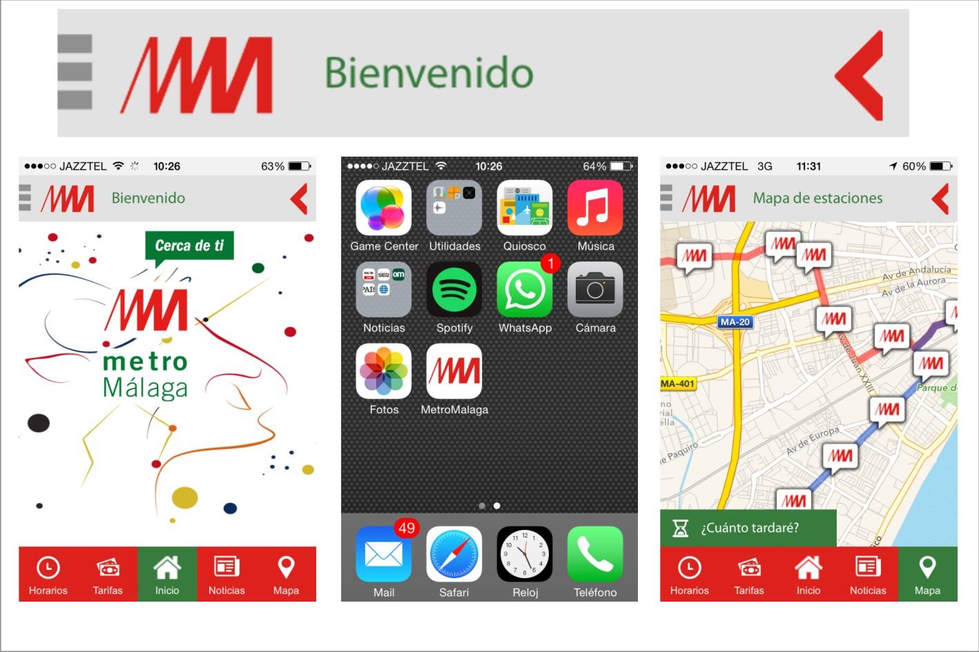 Nueva aplicación móvil de metro de Málaga.