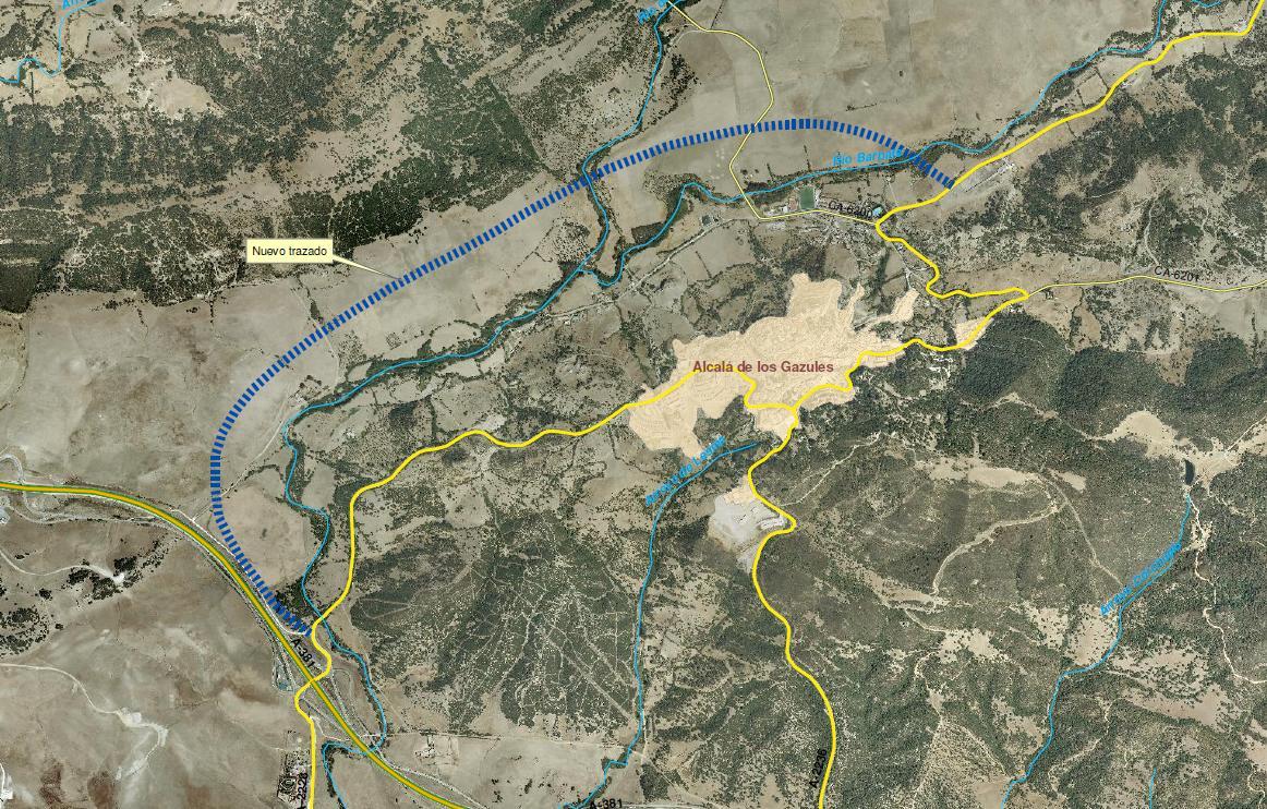 Mapa del trazado de la futura variante noreste de Alcalá de los Gazules