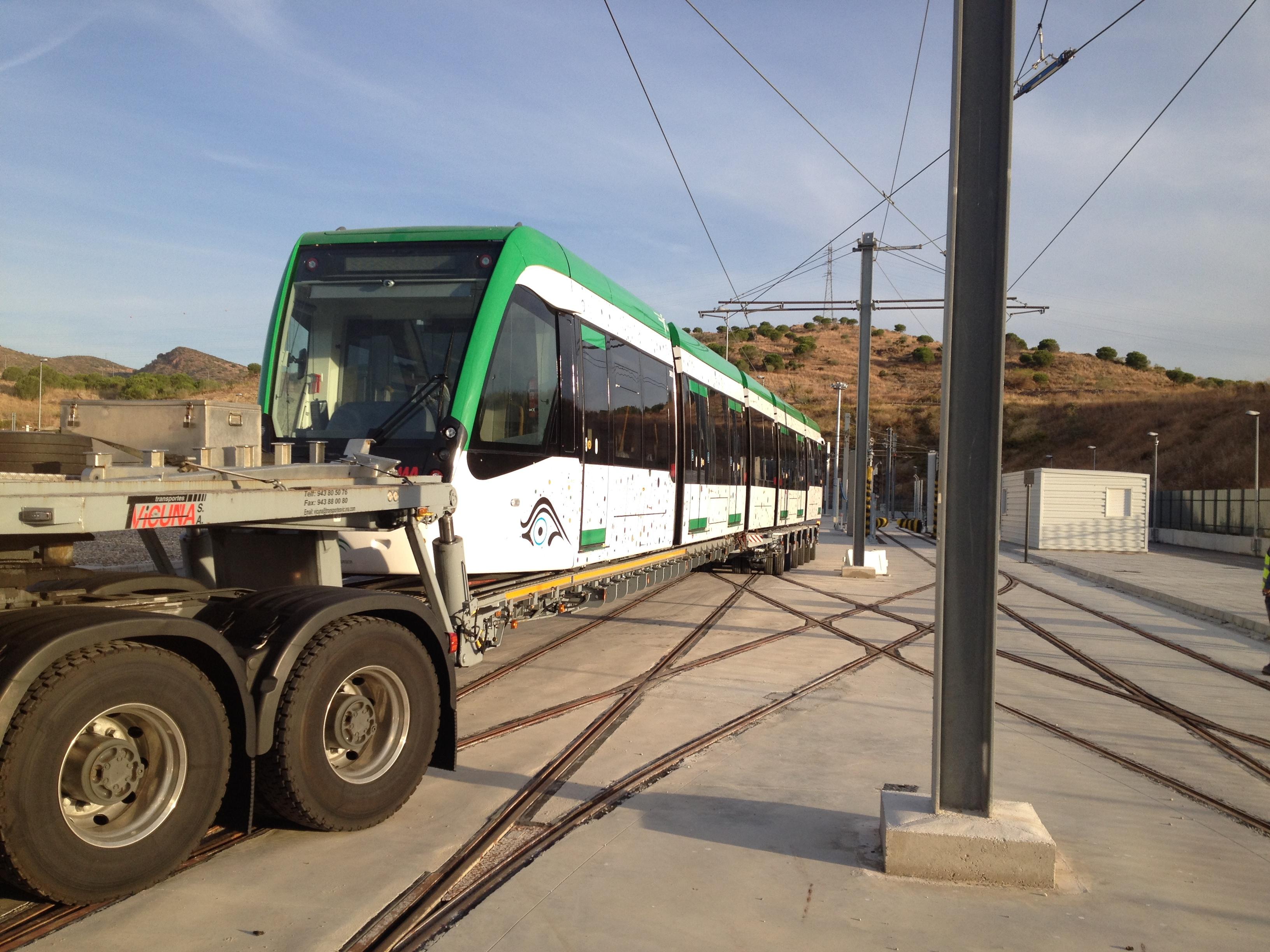 La novena unidad de metro de Málaga llegó a los talleres en este mes de octubre.