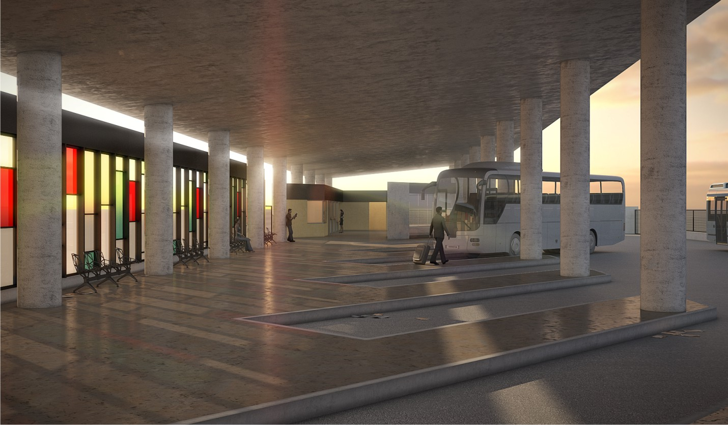 Recreación de la zona de andenes en la nueva estación intermodal de Cádiz.