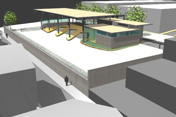 Infografía de proyecto sobre la Estación de Autobuses de Mancha Real.