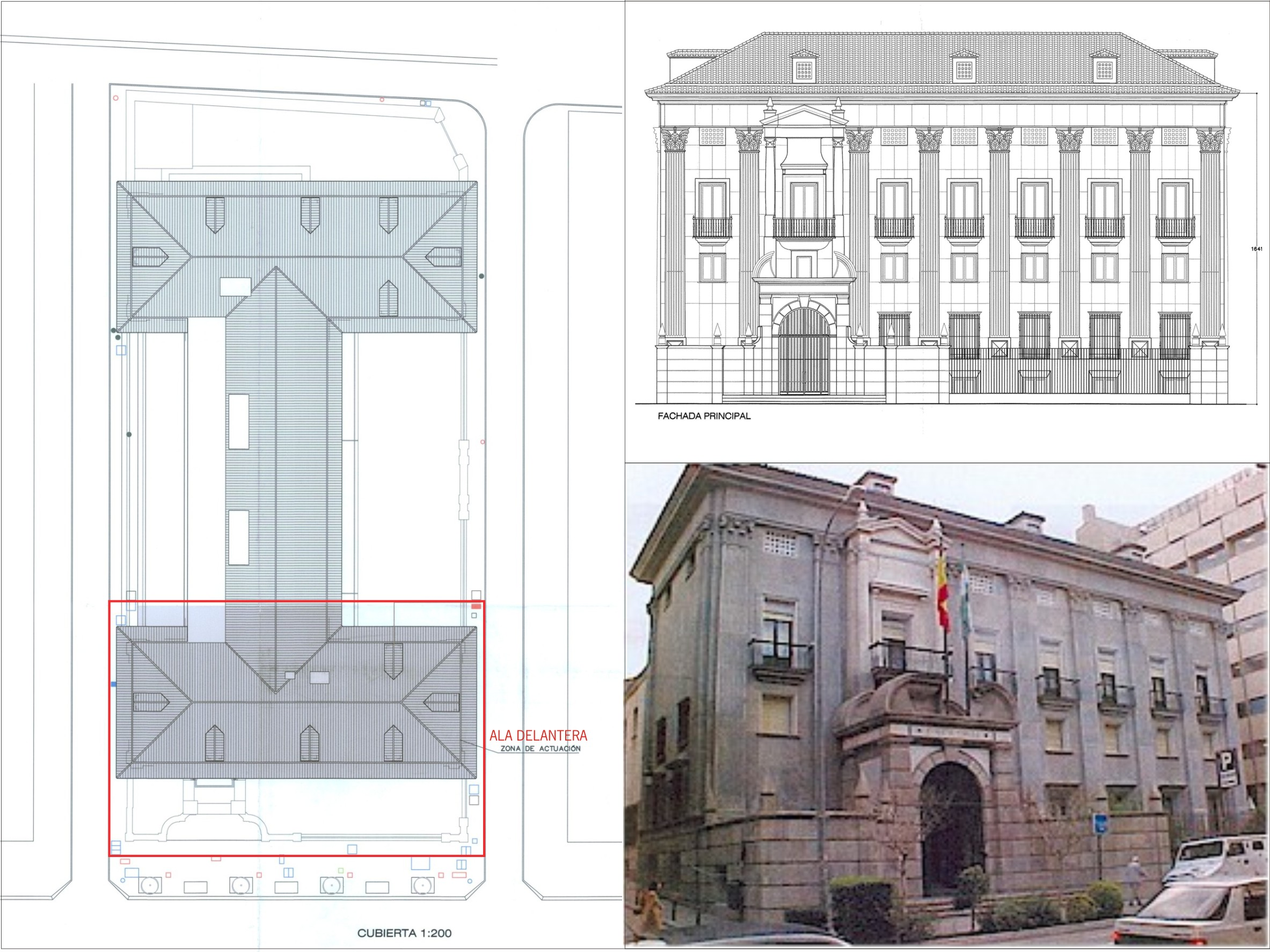 Planta general del edificio del Banco de España y fachada principal.