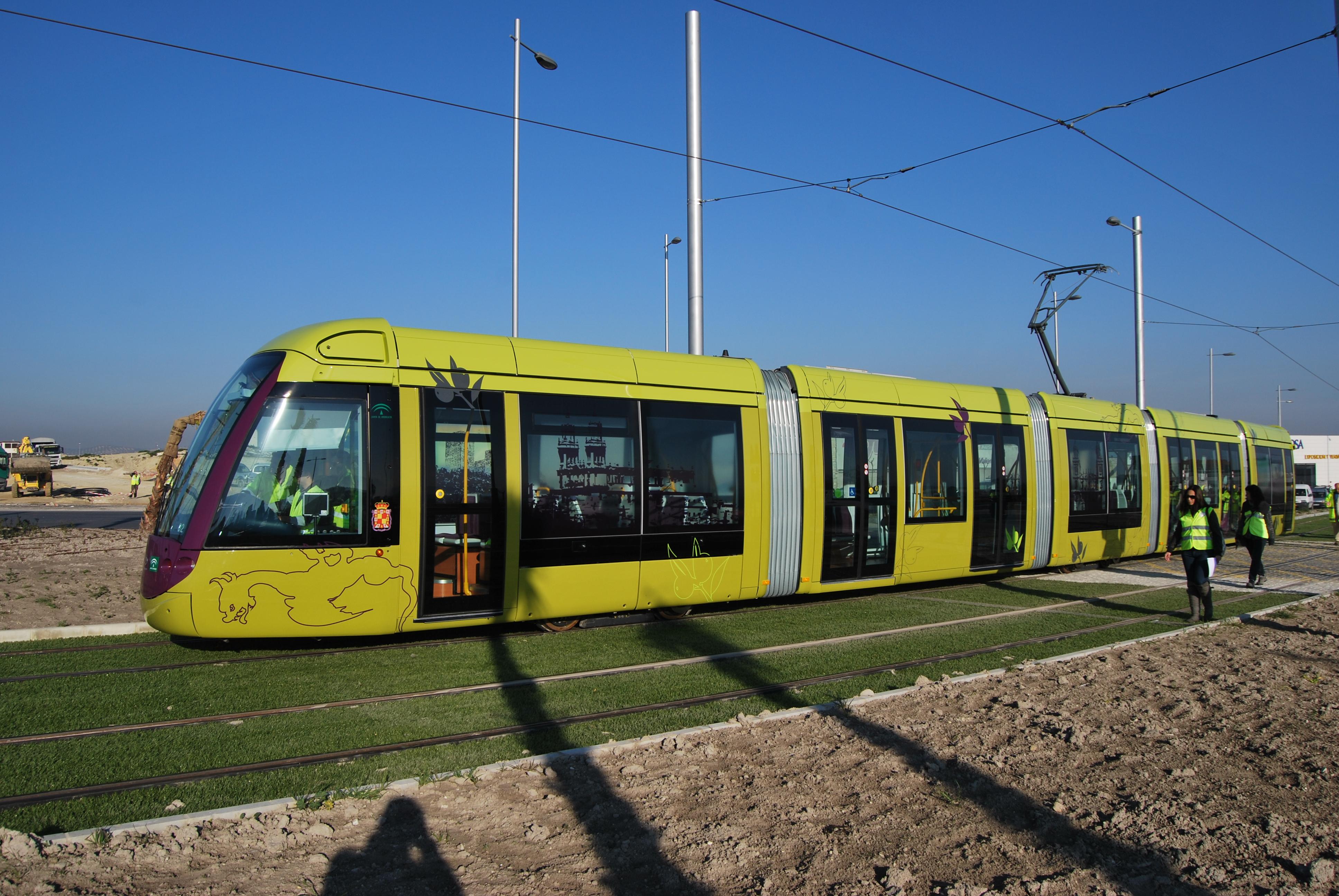 Unidad de tranvía en las cocheras.