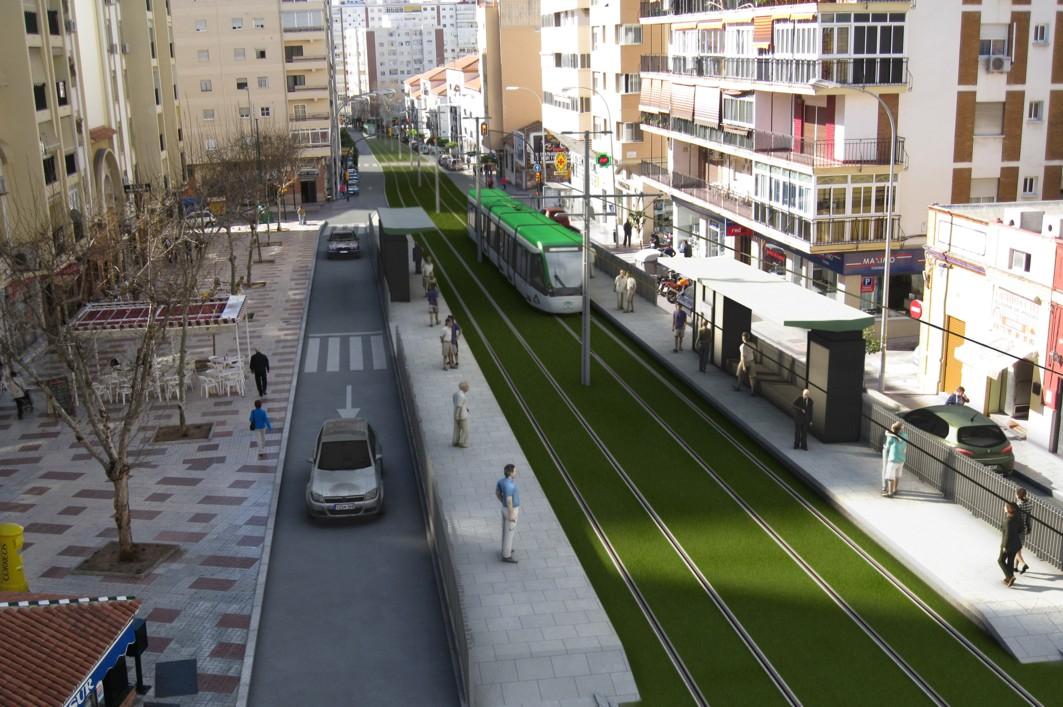 Recreación infográfica del metro de Málaga, en el tramo al Hospital Civil.