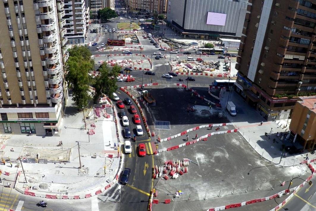 Obras del tramo Renfe - Guadalmedina de metro de Málaga, en Albert Camus.
