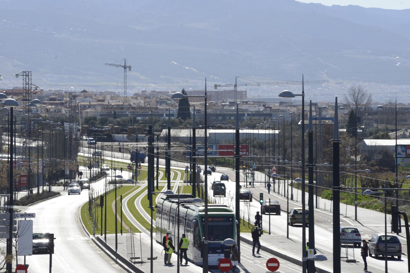 Imagen de las pruebas con material móvil en el metro de Granada.