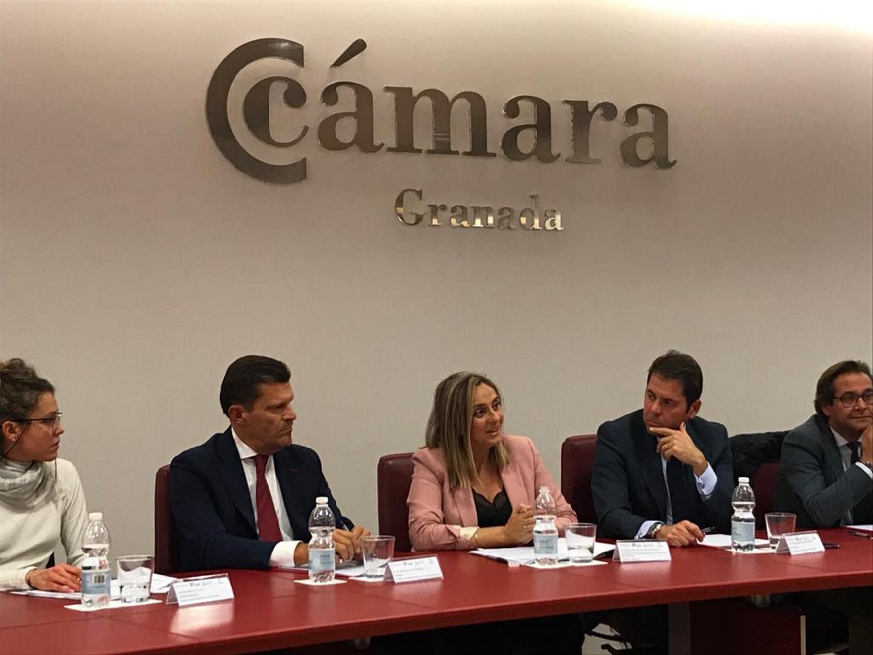 La consejera de Fomento en una reunión con los empresarios de la Cámara de Comercio.