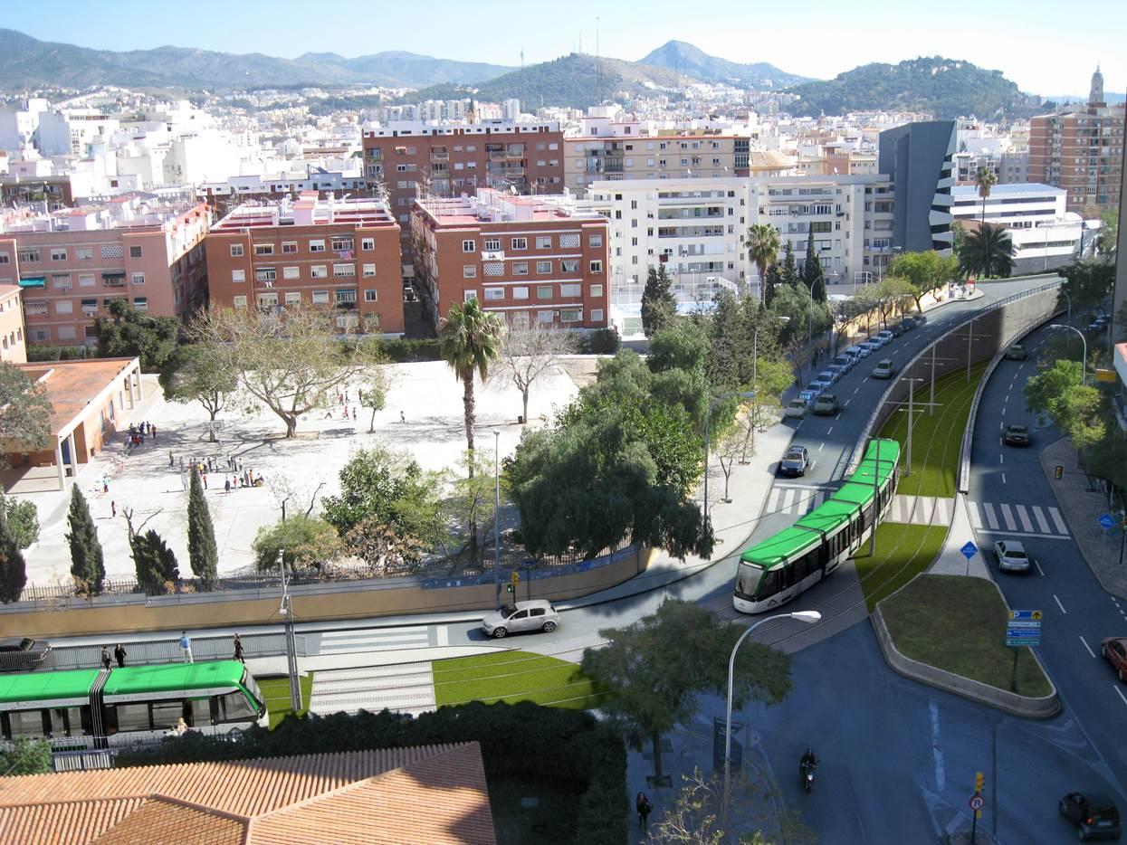 Recreación del paso del metro de Málaga por la prolongación de la Línea 2 hasta el Hospital Civil.